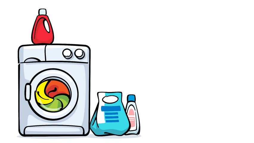 Cartoon Washing Machine Working Loopaple Animation With
