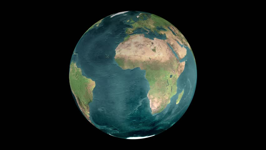 Realistic Earth Rotating on black background (Loop). Globe is centered in frame, with correct rotation in seamless loop. Texture map courtesy of NASA.