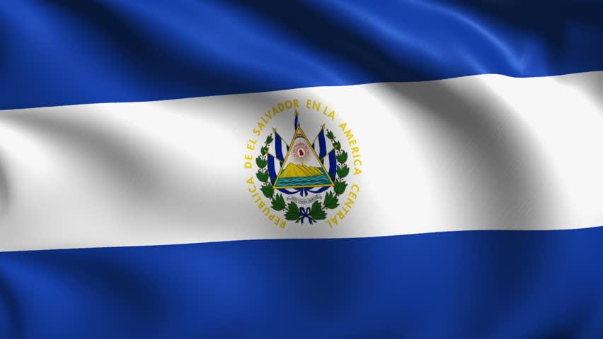 Flag Of El Salvador Waving In The Wind. Seamless Loop With ...