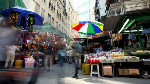 Time lapse city view busy Asian street market Wan Chai Commercial District, Hong Kong Island, China, Asia