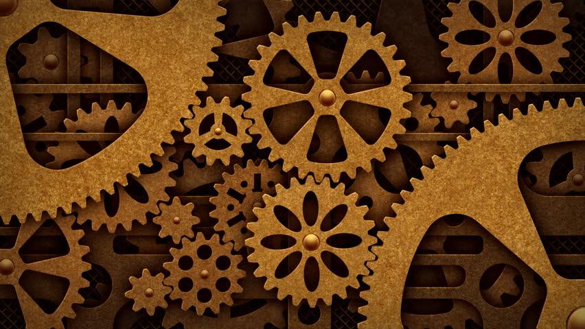 steampunk mechanism with gears の動画素材 完全ロイヤリティフリー