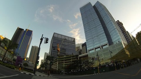 MANILA, June 28:  Timelapse of traffic at Bonifacio global city metro Manila on June 28 2014
