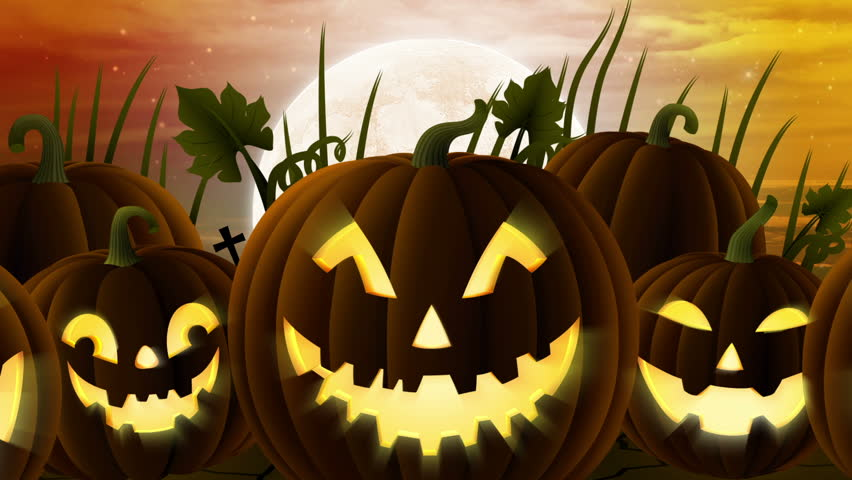 A spooky halloween pumpkin patch with 5 pumpkin faces and - Image halloween drole ...