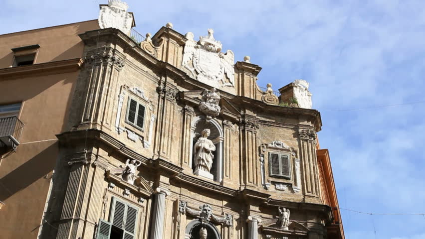 Multiple Shots Of Ancient Buildings In Palermo Sicily Italy