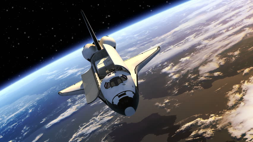 Space Shuttle Payload Bay Doors Opens. 3D Animation.