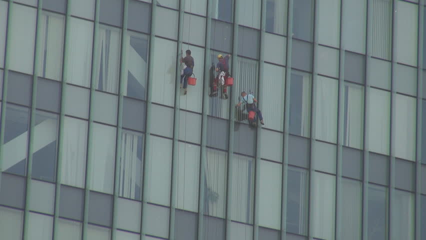 Extreme Dangerous Job Cleaning Windows On Skyscraper