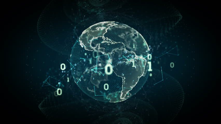 A stylized and abstract rendering of the earth as a digital entity conveying the idea of the modern digital age and it's emphasis on global connectivity. Seamless Loop. | Shutterstock HD Video #6822907
