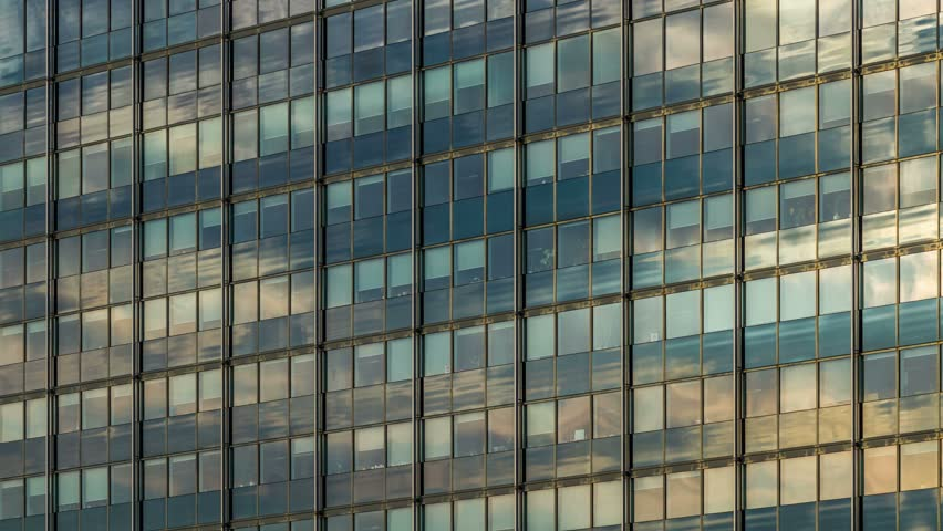 Modern Architecture Videos clouds on glass facade - modern architecture, office building in