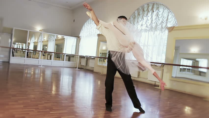 Couple Practicing Ballet Dancing In Front Of Mirrors Slow Mo