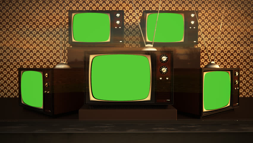 01553 Exhibition Of Old Retro Color Tv Sets With Antenna Green Screen | Shutterstock HD Video #6864172