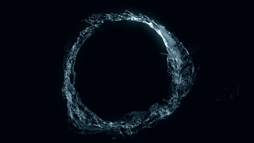 Water circle looping on black (seamless loop, alpha matte, full hd, cg, slow motion)