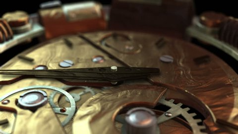 3D STEAMPUNK CLOCK EXTREME close-up. Ideal for Science fiction movies, TV shows, intro news commercials retro steampunk technology related projects Includes ALPHA MATTE for easy background replacement