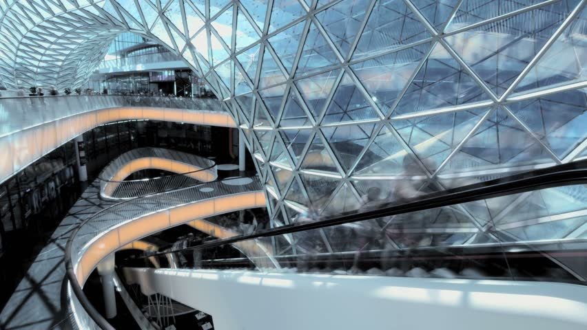 Modern architecture. stairway elevator escalator. people persons moving | Shutterstock HD Video #6950572