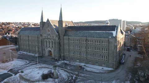 TRONDHEIM, NORWAY, JANUARY 2014 Aerial drone shot of the NTNU - Norwegian University of Science and Technology - building, in Trondheim, Norway.