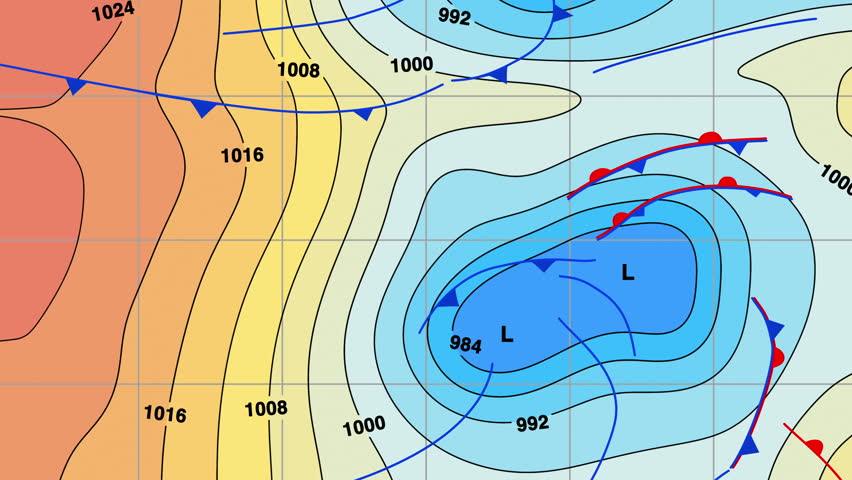 Animated Weather Forecast Map With Isobars Cold And Warm Fronts High And Low Pressure
