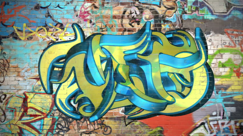 Stock Video Clip Of Graffiti On A Wall Comes To Life