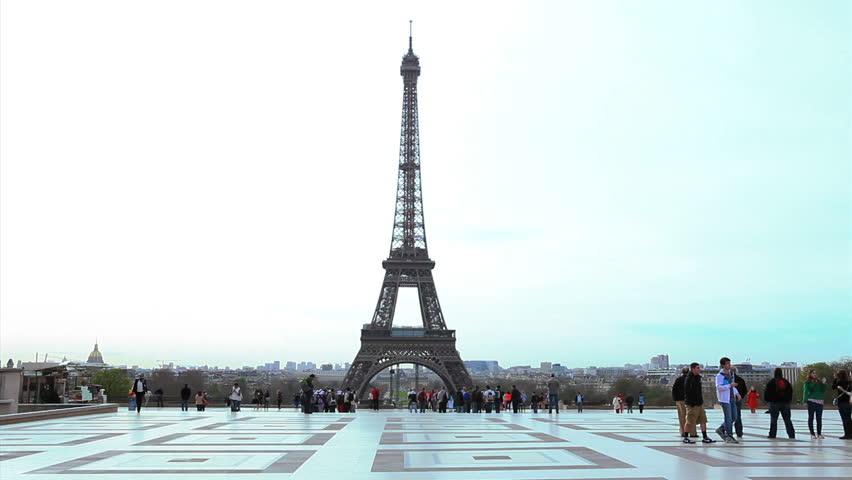 PARIS, FRANCE - APRIL 17: View of Eiffel Tower from Esplanade du Trocadero, Paris, on 17 April 2013.   Shutterstock HD Video #6976225