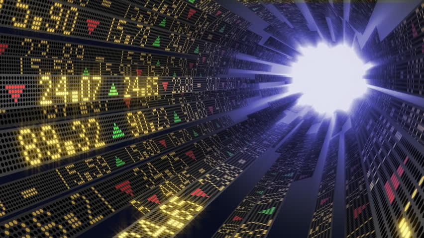 Stock market tickers on circular boards arranged as a tunnel and sliding toward the light at the end