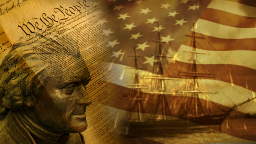 """We the People"" background with US flag and old ship."