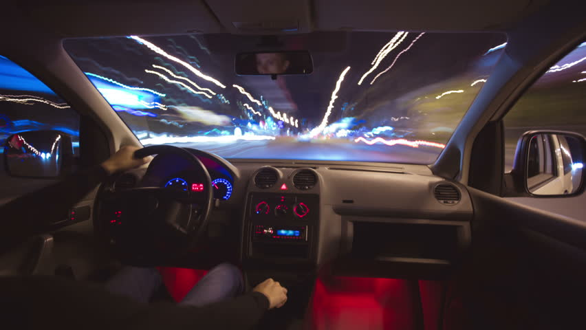 The night car driving time lapse, wide angle. Footage is made of uncompressed images
