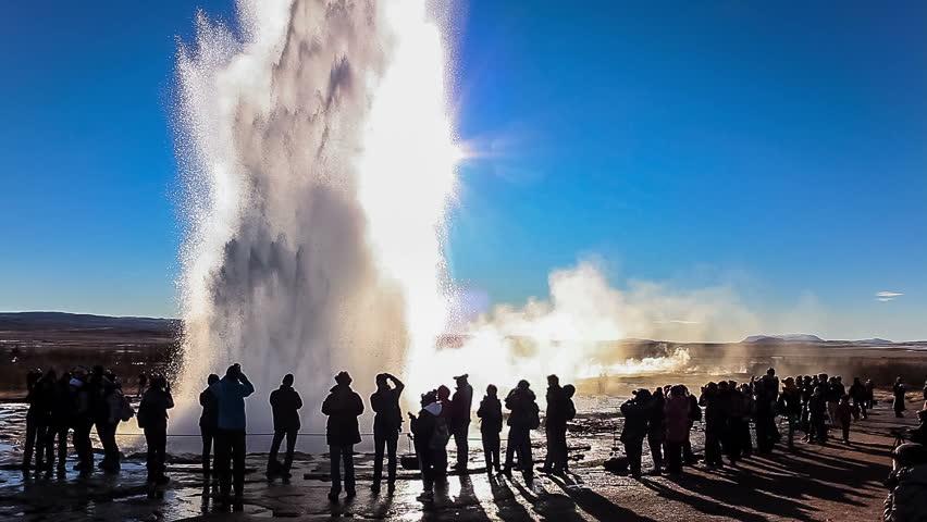 Erupting geyser Strokkur in Iceland (slow motion). Strokkur is a fountain geyser in the geothermal area beside the Hvítá River in southwest Iceland. Strokkur is part of Haukadalur geothermal area.