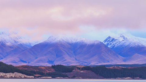 4K: Time lapse, The clouds moving over beautiful scenery mountains valleys New Zealand, High quality, Ultra HD, 4096x2304