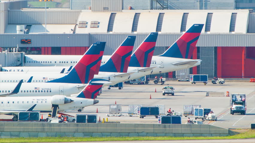 atlanta 2014 delta airlines commercial passenger aircraft lined up at a hartsfield