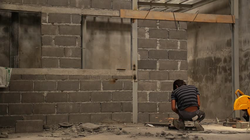 Two Construction Workers Plastering Exterior Walls HD1080i Stock