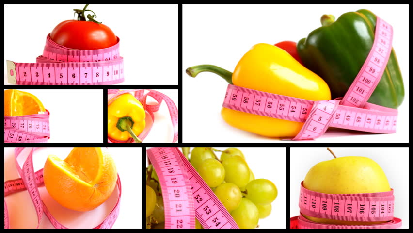Fruits and vegetables with measuring tape montage - 1080p