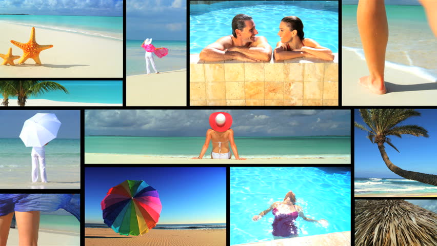 Montage collection of luxury exotic vacation scenes
