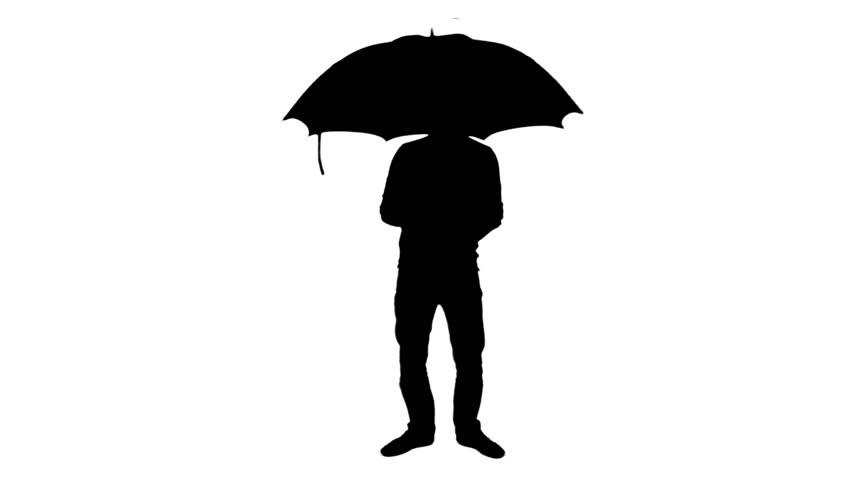 umbrella opening silhouette standing man 1080p
