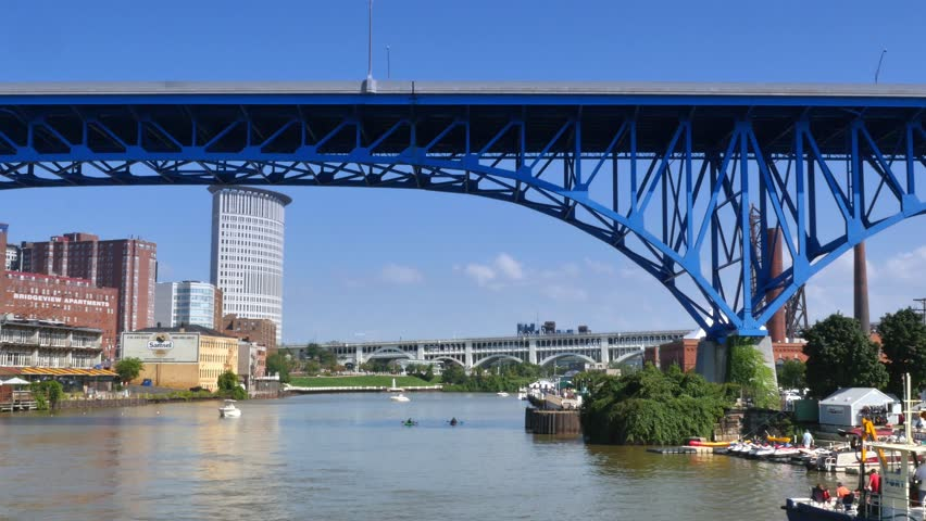 cleveland oh circa august 2014 the cleveland skyline as seen from the
