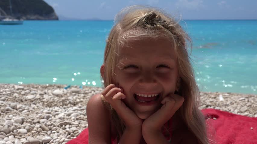 4K Portrait Happy Smiling Little Girl On Beach In Lefkada -8979