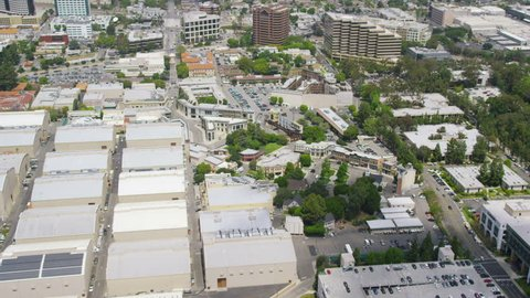 Aerial view of Hollywood Film Studios in Los Angeles. California USA. Film set.