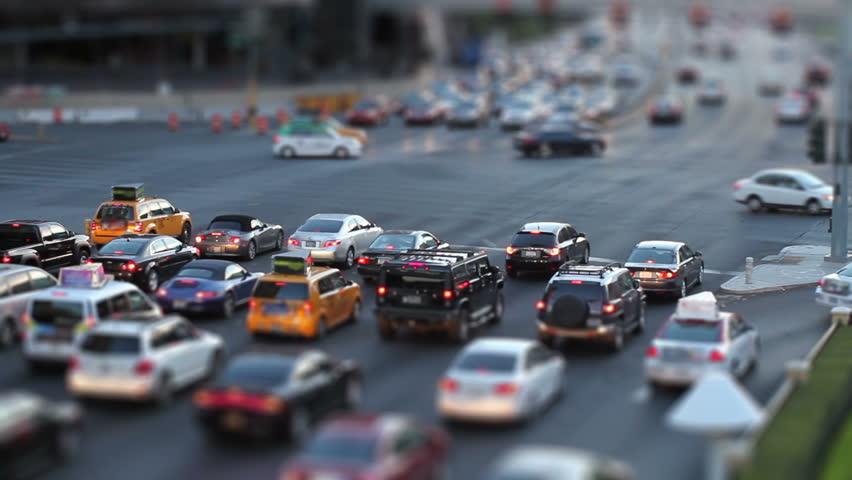 Tilt-shift shot of a busy intersection in Las Vegas, shot at dusk | Shutterstock HD Video #7212052