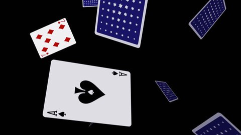 Playing Cards - Falling Loop - 3 - Alpha Channel - 30 fps - 3D animated poker cards for sport, gambling, business, art, music, vj projects... Lossless Full HD ProRes4444 with transparent background...