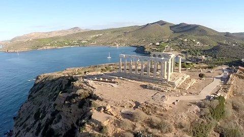 Temple of Poseidon in Sounio Greece aerial footage Clockwise movement