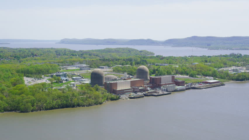 USA Aerial view of Indian Point Energy Center Nuclear Power Station in New York City, United States of America