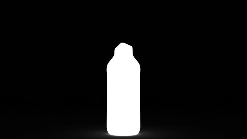 Water pour into bottle shape. Isolated on white. Alpha channel include.