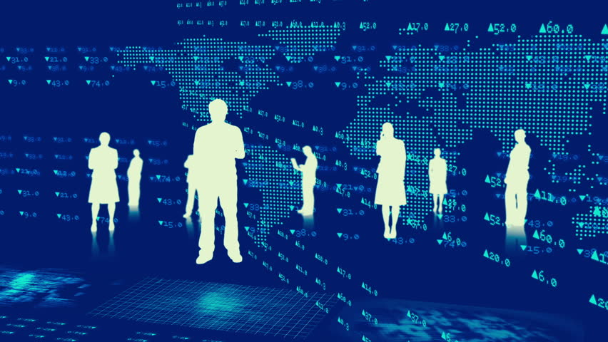 Technology Management Image: Montage 3D Professional Business People In Silhouette