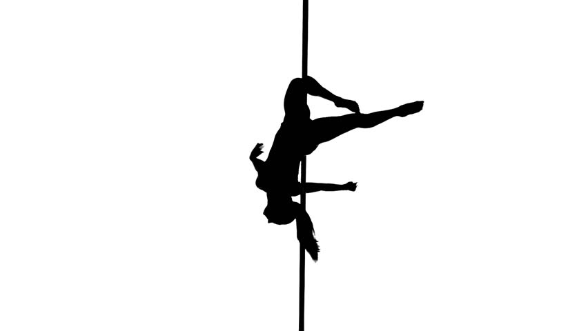 Sexy Female Pole Dancing On Black Background. Stock ...