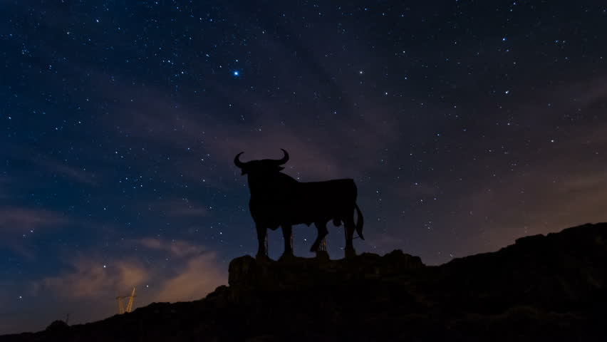 Night Sky Stars Timelapse And Black Bull. August 2014 in Madrid, Spain. Timelapse video. | Shutterstock HD Video #7334272