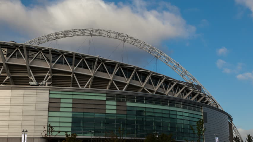 WEMBLEY STADIUM, LONDON - 19 OCTOBER 2012. Time lapse of the famous arch over the new Wembley Stadium in North London. 4K