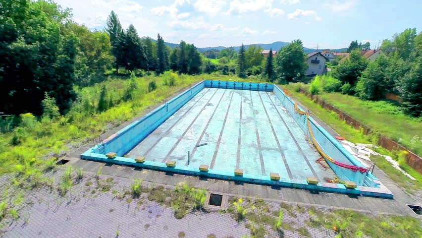 ljubljana slovenia august 2014 aerial shot of empty olympic swimming pool old