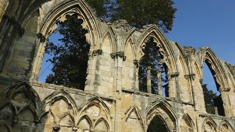 Ruins of St Mary's Abbey, a ruined Benedictine abbey that dates from 1055AD. In York Museum Gardens in the city of York in the county of Yorkshire in northeast England.