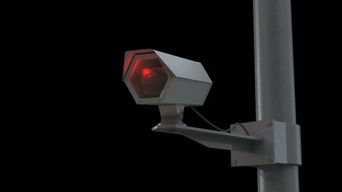 An observation camera moves slightly from one side to another in front of a black background. The 3D animation can be used for showing the rapid increase of technology evolved for surveillance.