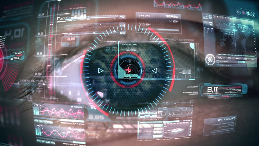 Close up to eyeball with futuristic, highly detailed 3d targeting system. Loop. | Shutterstock HD Video #7412914