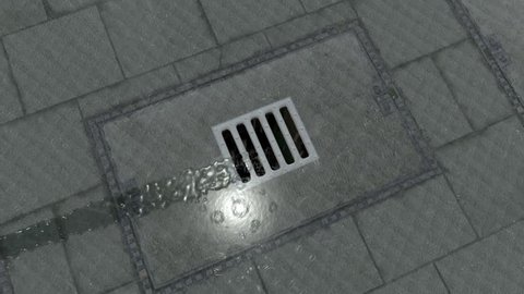 Gully water drainage street 3D Animation