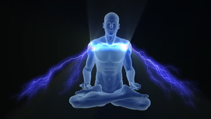 Man Silhouette In Enlightened Yoga Meditation Pose With Charging Blue Electric Auras