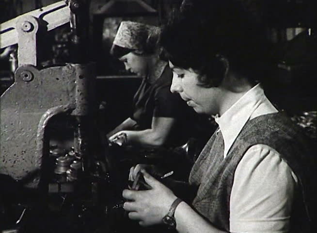FORMER U.S.S.R. CIRCA 1950-1960: Workers of the USSR at the factory. Newsreel
